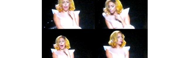 Lady Gaga engasga durante apresentação e cospe no palco