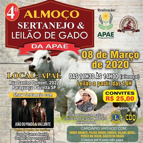Acontece no próximo domingo o 4º Almoço Sertanejo e Leilão de Gado da Apae