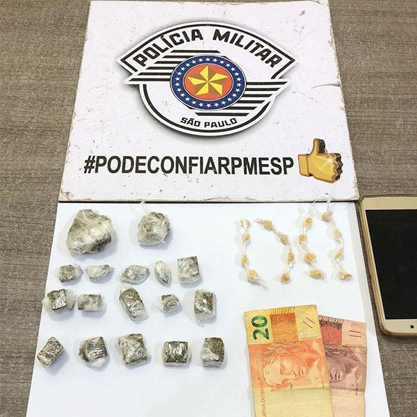Garoto de 15 anos é apreendido com várias porções de drogas em Paraguaçu Paulista