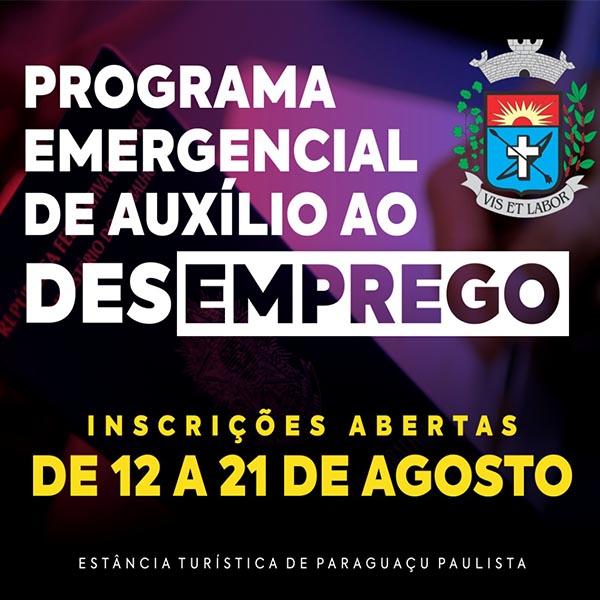 Programa Emergencial de Auxílio Desemprego de Paraguaçu inicia inscrições hoje, 12