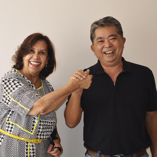 Pré-candidata a reeleição, Almira apresenta César Kikei como seu novo candidato a vice
