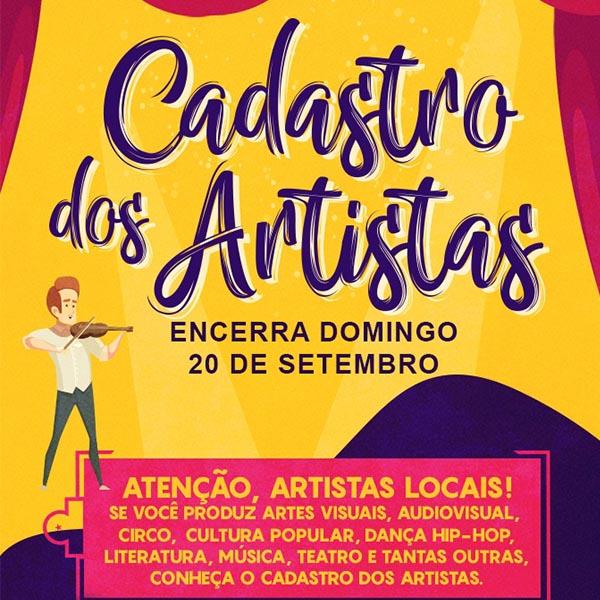 Cadastro Municipal de Artistas se encerra neste domingo (20/09)
