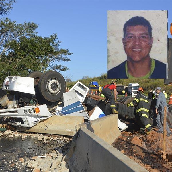 Motorista morre após carreta capotar em trecho de obras em rodovia
